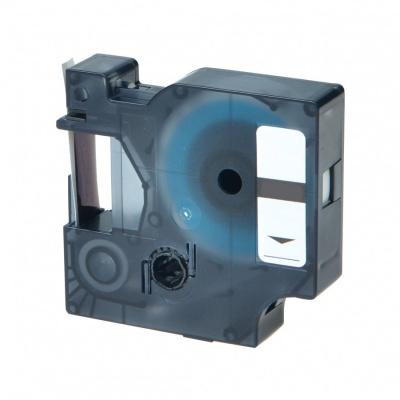 Kompatibilná páska s Dymo D1 43617, 6mm x 7m čierny tisk / červený podklad