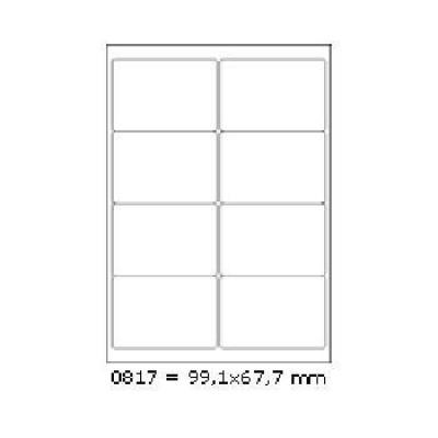 Samolepiace etikety 99,1 x 67,7 mm, 8 etikiet, A4, 100 listov