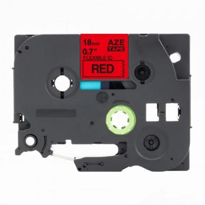 Kompatibilná páska s Brother TZ-FX441 / TZe-FX441,18mm x 8m, flexi, čierna tlač / červený podklad
